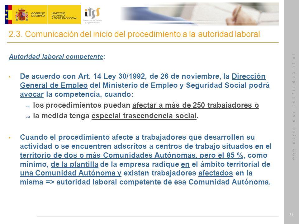 w w w. m e y s s. e s / i t s s / i n d e x.h t m l 31 Autoridad laboral competente: De acuerdo con Art. 14 Ley 30/1992, de 26 de noviembre, la Direcc