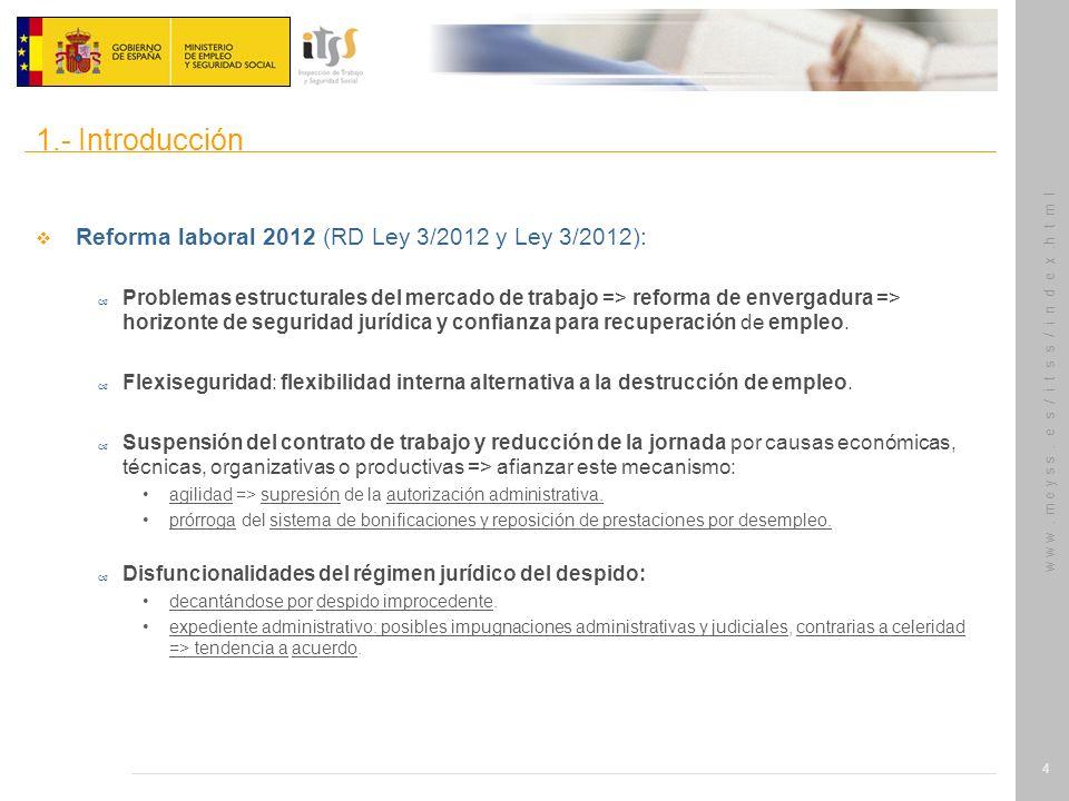 w w w. m e y s s. e s / i t s s / i n d e x.h t m l 4 Reforma laboral 2012 (RD Ley 3/2012 y Ley 3/2012): – Problemas estructurales del mercado de trab