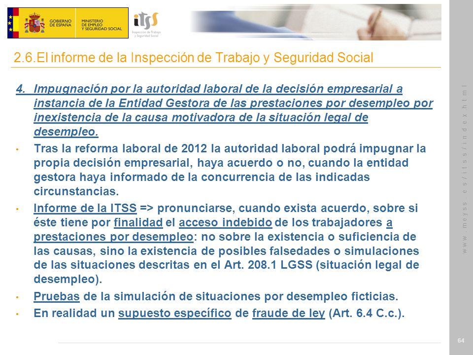 w w w. m e y s s. e s / i t s s / i n d e x.h t m l 64 4.Impugnación por la autoridad laboral de la decisión empresarial a instancia de la Entidad Ges