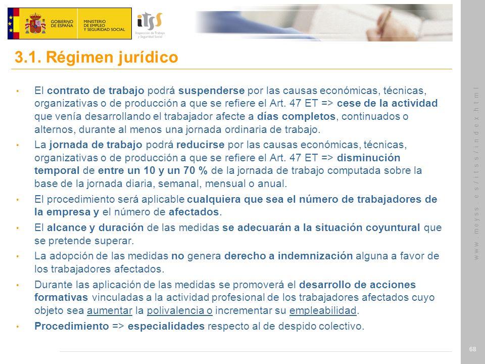 w w w. m e y s s. e s / i t s s / i n d e x.h t m l 68 El contrato de trabajo podrá suspenderse por las causas económicas, técnicas, organizativas o d