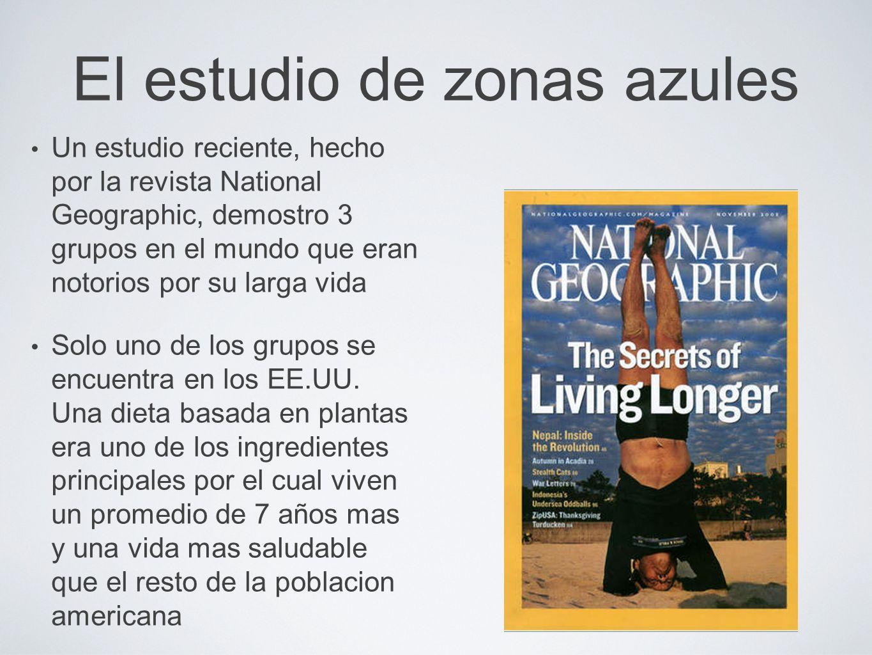El estudio de zonas azules Un estudio reciente, hecho por la revista National Geographic, demostro 3 grupos en el mundo que eran notorios por su larga