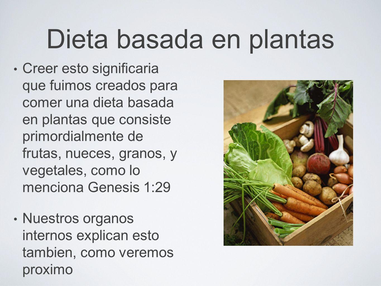 Dieta basada en plantas Creer esto significaria que fuimos creados para comer una dieta basada en plantas que consiste primordialmente de frutas, nuec