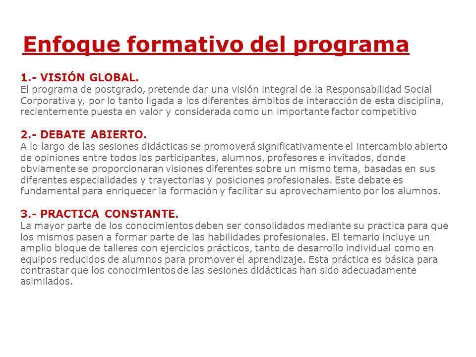 Enfoque formativo del programa 1.- VISIÓN GLOBAL.