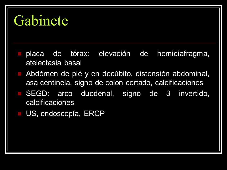 Gabinete placa de tórax: elevación de hemidiafragma, atelectasia basal Abdómen de pié y en decúbito, distensión abdominal, asa centinela, signo de col