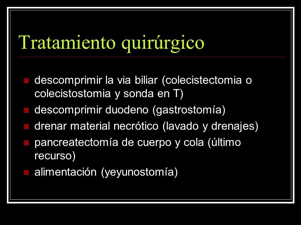 Tratamiento quirúrgico descomprimir la via biliar (colecistectomia o colecistostomia y sonda en T) descomprimir duodeno (gastrostomía) drenar material