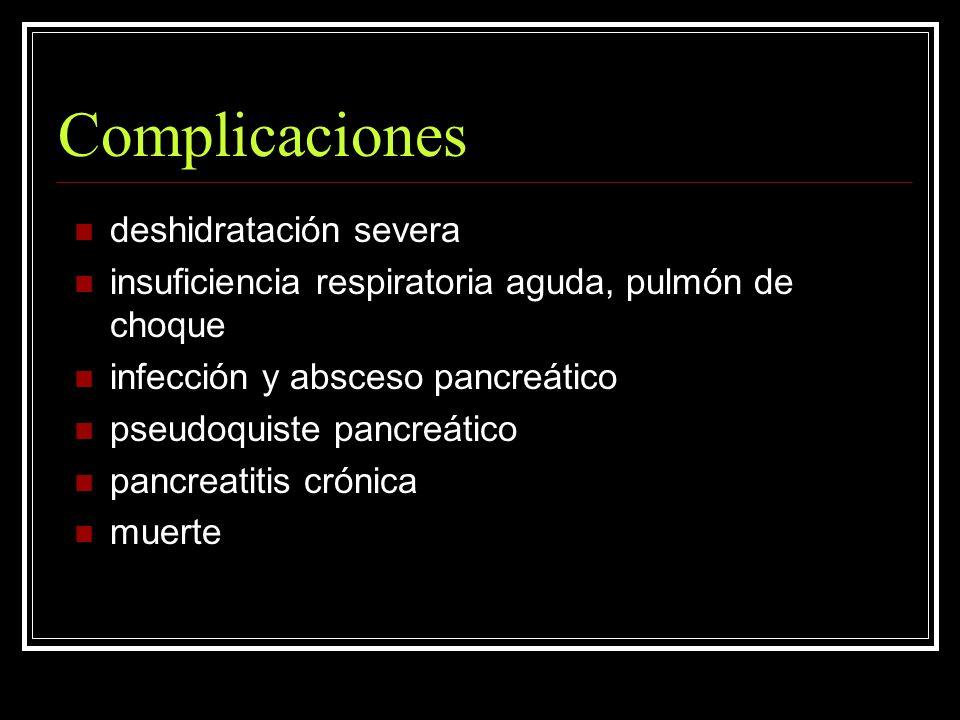 Complicaciones deshidratación severa insuficiencia respiratoria aguda, pulmón de choque infección y absceso pancreático pseudoquiste pancreático pancr