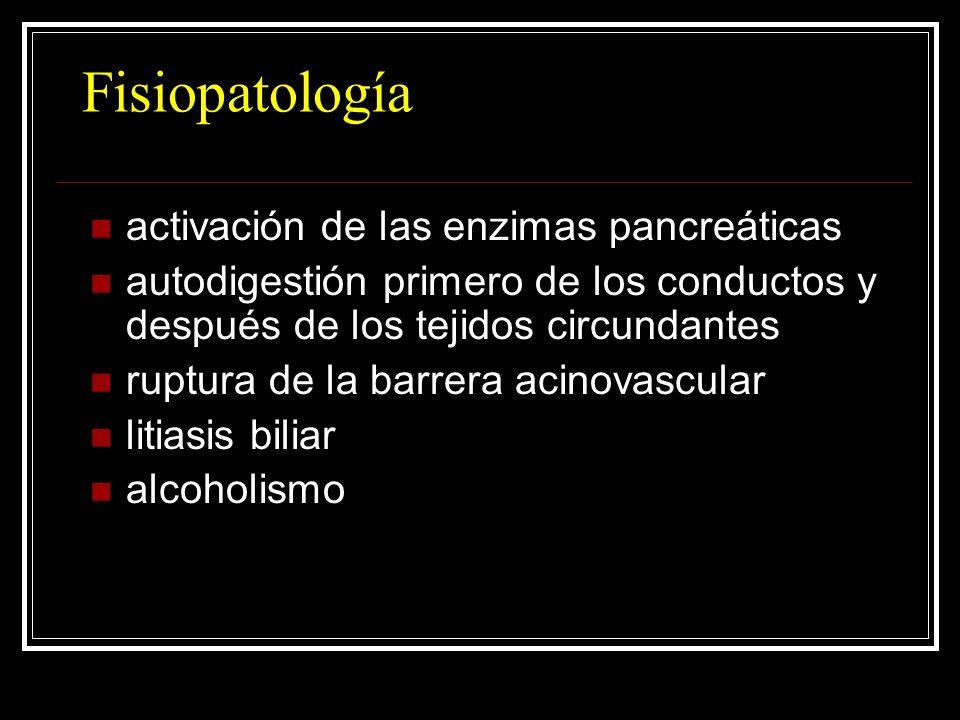 Fisiopatología activación de las enzimas pancreáticas autodigestión primero de los conductos y después de los tejidos circundantes ruptura de la barre