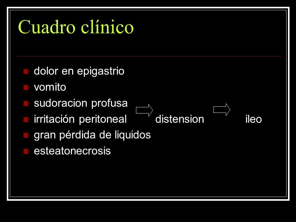 Cuadro clínico dolor en epigastrio vomito sudoracion profusa irritación peritoneal distension ileo gran pérdida de liquidos esteatonecrosis