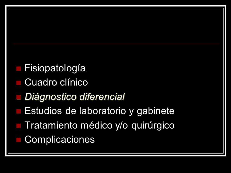 Fisiopatología Cuadro clínico Diágnostico diferencial Diágnostico diferencial Estudios de laboratorio y gabinete Tratamiento médico y/o quirúrgico Com