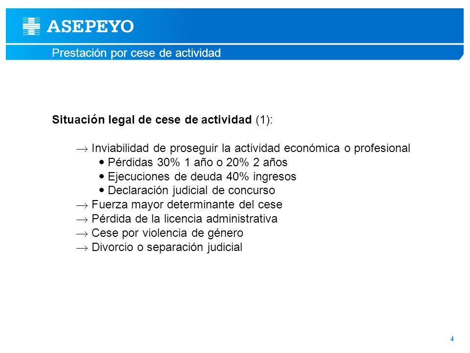 Prestación por cese de actividad 4 Situación legal de cese de actividad (1): Inviabilidad de proseguir la actividad económica o profesional Pérdidas 3