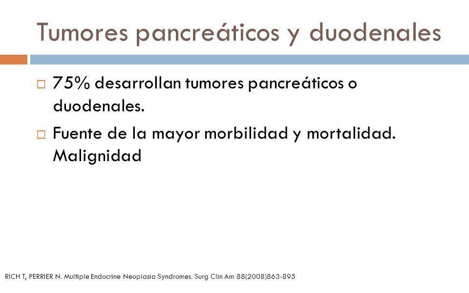 Tumores pancreáticos y duodenales 75% desarrollan tumores pancreáticos o duodenales. Fuente de la mayor morbilidad y mortalidad. Malignidad RICH T, PE