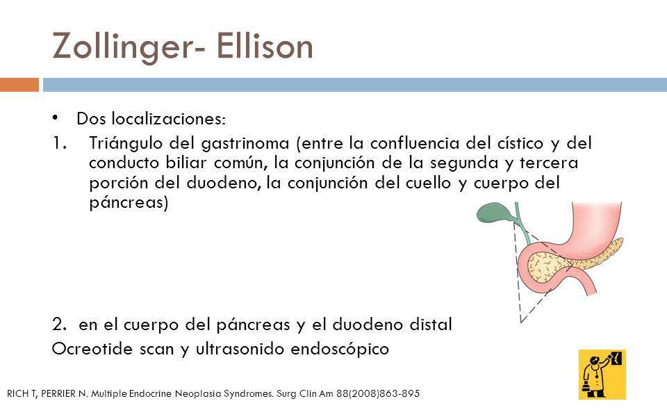 Dos localizaciones: 1.Triángulo del gastrinoma (entre la confluencia del cístico y del conducto biliar común, la conjunción de la segunda y tercera po