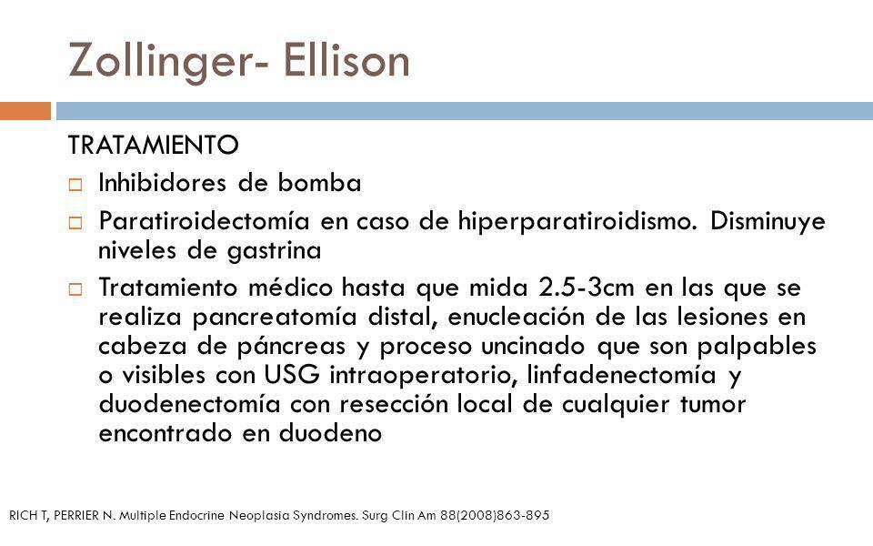 Zollinger- Ellison TRATAMIENTO Inhibidores de bomba Paratiroidectomía en caso de hiperparatiroidismo. Disminuye niveles de gastrina Tratamiento médico