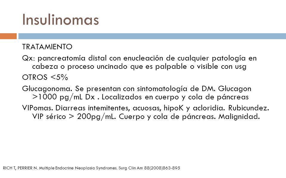 Insulinomas TRATAMIENTO Qx: pancreatomía distal con enucleación de cualquier patología en cabeza o proceso uncinado que es palpable o visible con usg