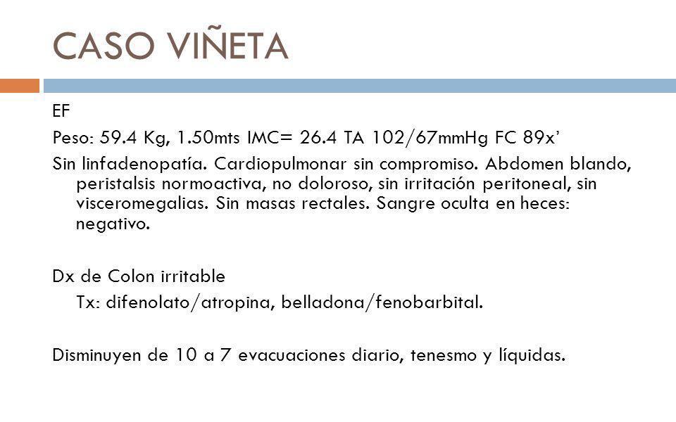 CASO VIÑETA EF Peso: 59.4 Kg, 1.50mts IMC= 26.4 TA 102/67mmHg FC 89x Sin linfadenopatía. Cardiopulmonar sin compromiso. Abdomen blando, peristalsis no