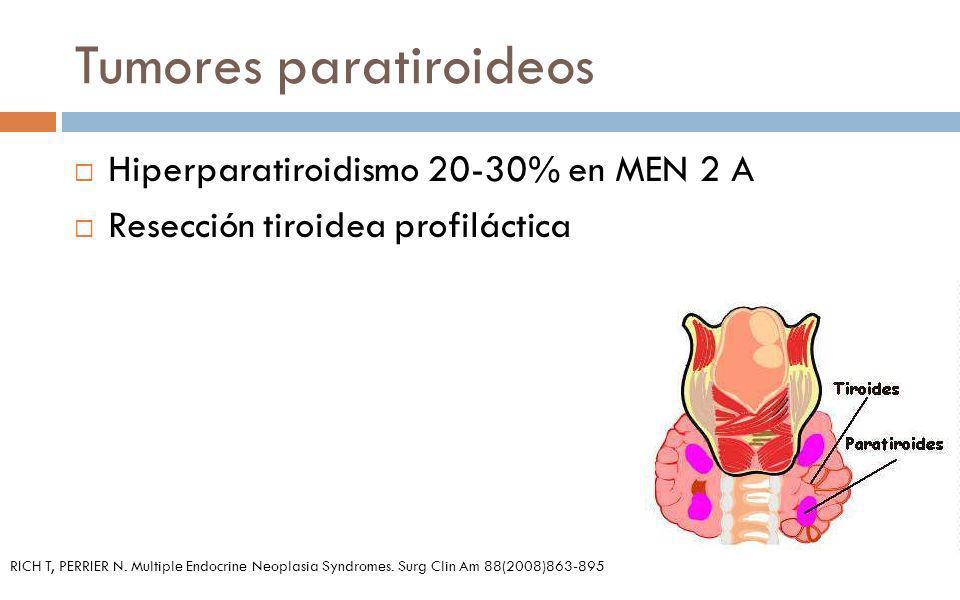 Tumores paratiroideos Hiperparatiroidismo 20-30% en MEN 2 A Resección tiroidea profiláctica RICH T, PERRIER N. Multiple Endocrine Neoplasia Syndromes.