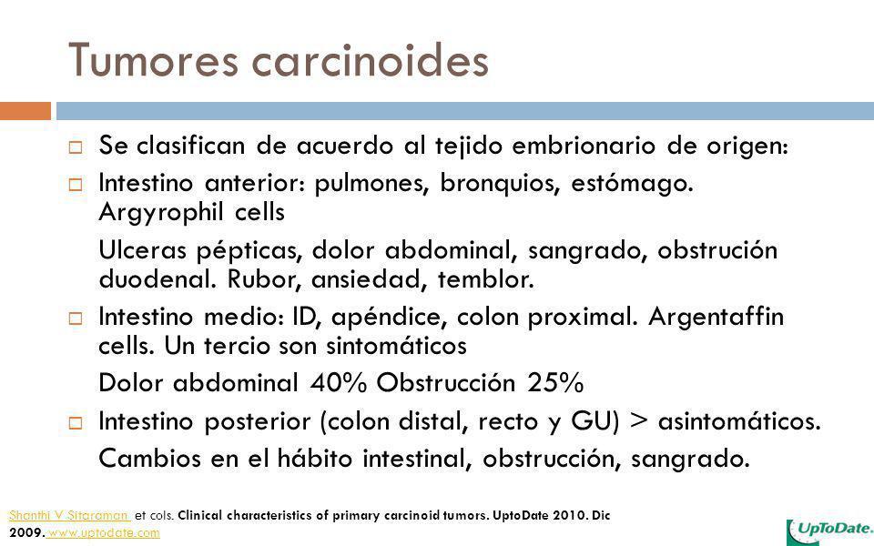 Tumores carcinoides Se clasifican de acuerdo al tejido embrionario de origen: Intestino anterior: pulmones, bronquios, estómago. Argyrophil cells Ulce