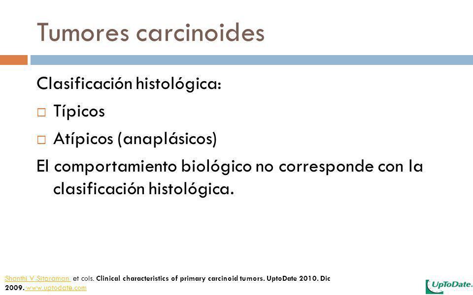 Tumores carcinoides Clasificación histológica: Típicos Atípicos (anaplásicos) El comportamiento biológico no corresponde con la clasificación histológ