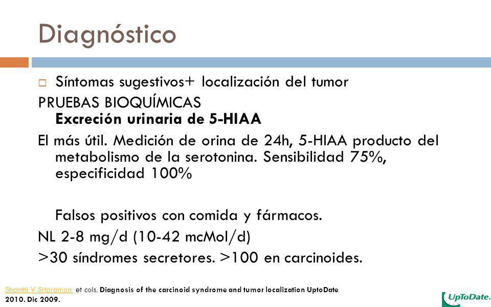 Diagnóstico Síntomas sugestivos+ localización del tumor PRUEBAS BIOQUÍMICAS Excreción urinaria de 5-HIAA El más útil. Medición de orina de 24h, 5-HIAA