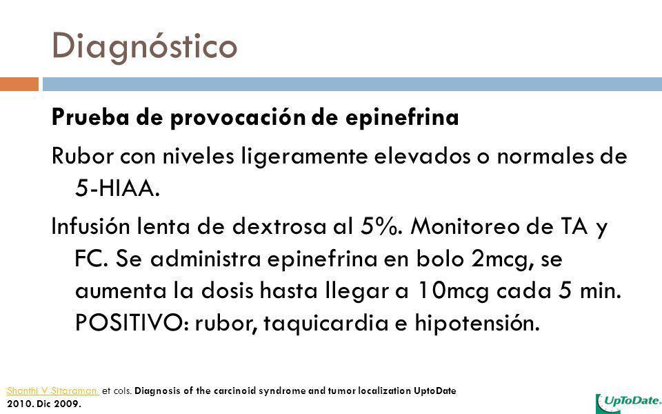 Diagnóstico Prueba de provocación de epinefrina Rubor con niveles ligeramente elevados o normales de 5-HIAA. Infusión lenta de dextrosa al 5%. Monitor