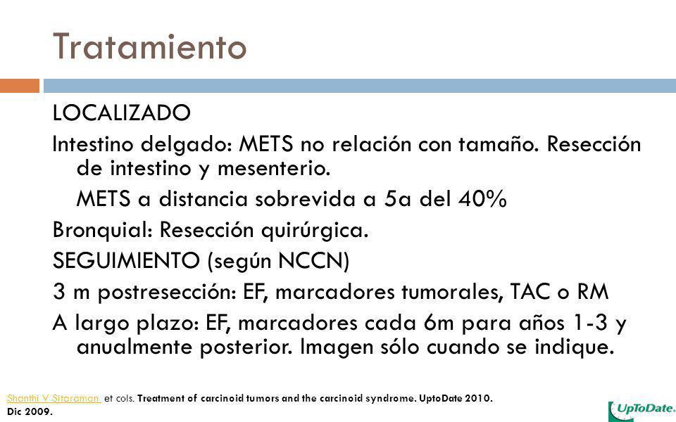 Tratamiento LOCALIZADO Intestino delgado: METS no relación con tamaño. Resección de intestino y mesenterio. METS a distancia sobrevida a 5a del 40% Br
