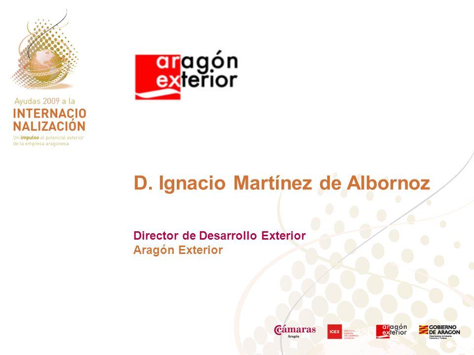 D. Ignacio Martínez de Albornoz Director de Desarrollo Exterior Aragón Exterior