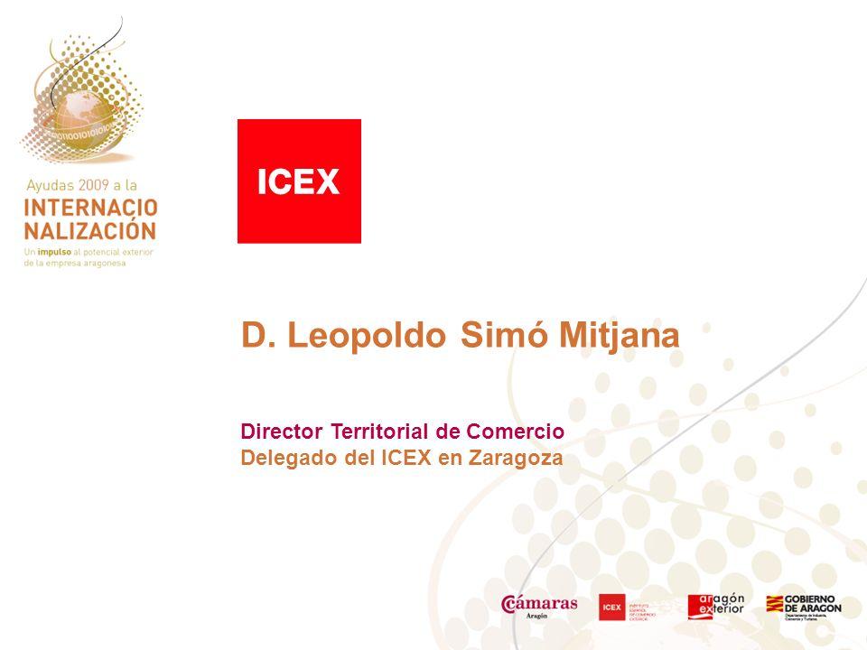 D. Leopoldo Simó Mitjana Director Territorial de Comercio Delegado del ICEX en Zaragoza