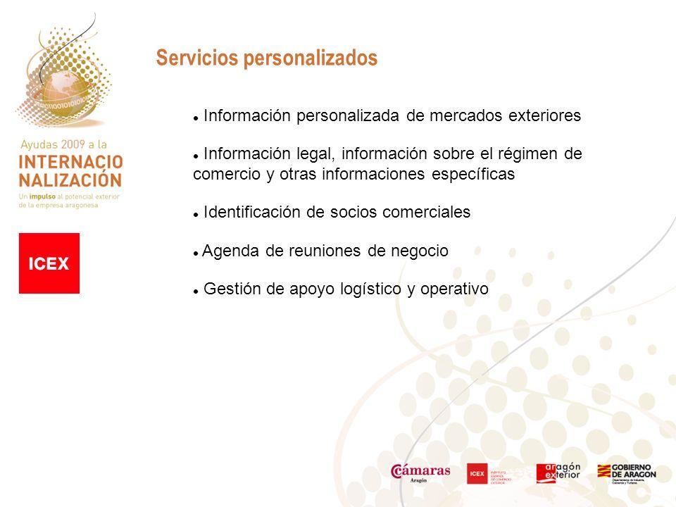 Servicios personalizados Información personalizada de mercados exteriores Información legal, información sobre el régimen de comercio y otras informaciones específicas Identificación de socios comerciales Agenda de reuniones de negocio Gestión de apoyo logístico y operativo