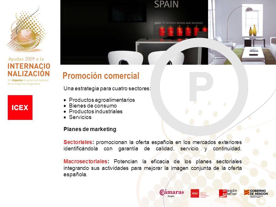 Promoción comercial Una estrategia para cuatro sectores: Productos agroalimentarios Bienes de consumo Productos industriales Servicios Planes de marketing Sectoriales: promocionan la oferta española en los mercados exteriores identificándola con garantía de calidad, servicio y continuidad.