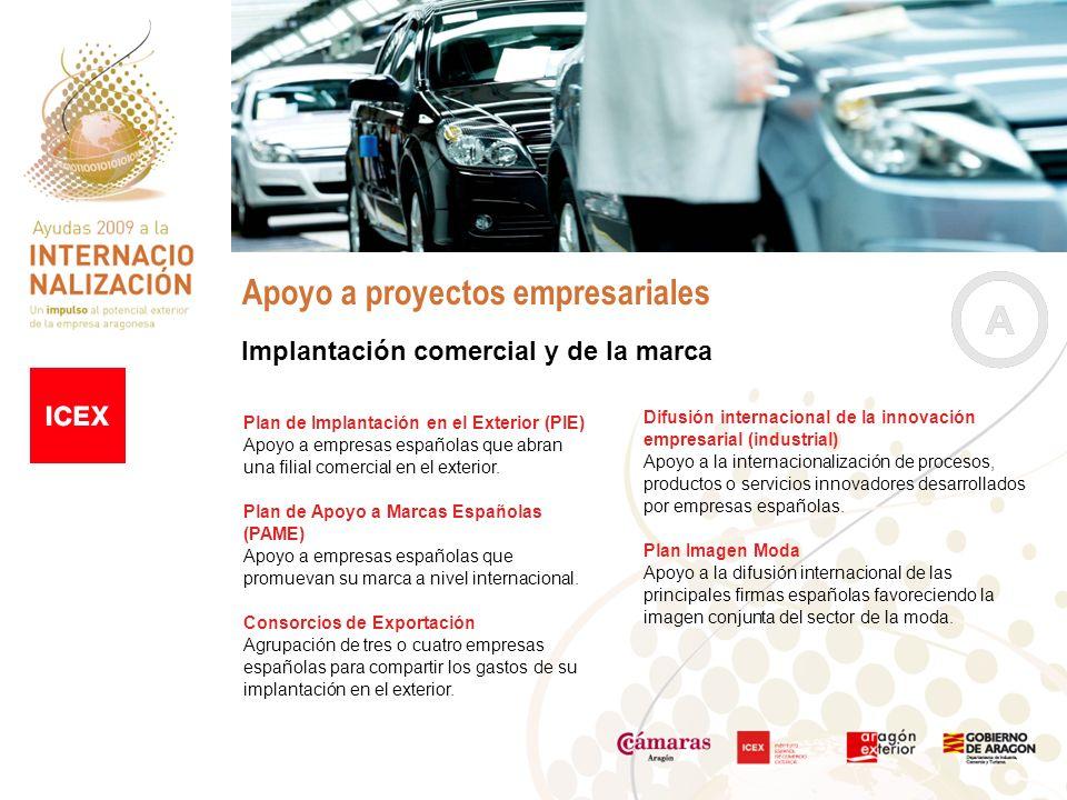 Apoyo a proyectos empresariales Implantación comercial y de la marca Difusión internacional de la innovación empresarial (industrial) Apoyo a la internacionalización de procesos, productos o servicios innovadores desarrollados por empresas españolas.