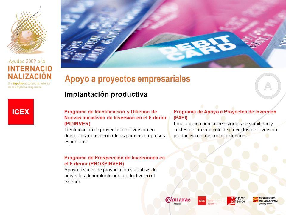 Apoyo a proyectos empresariales Implantación productiva Programa de Identificación y Difusión de Nuevas Iniciativas de Inversión en el Exterior (PIDINVER) Identificación de proyectos de inversión en diferentes áreas geográficas para las empresas españolas.