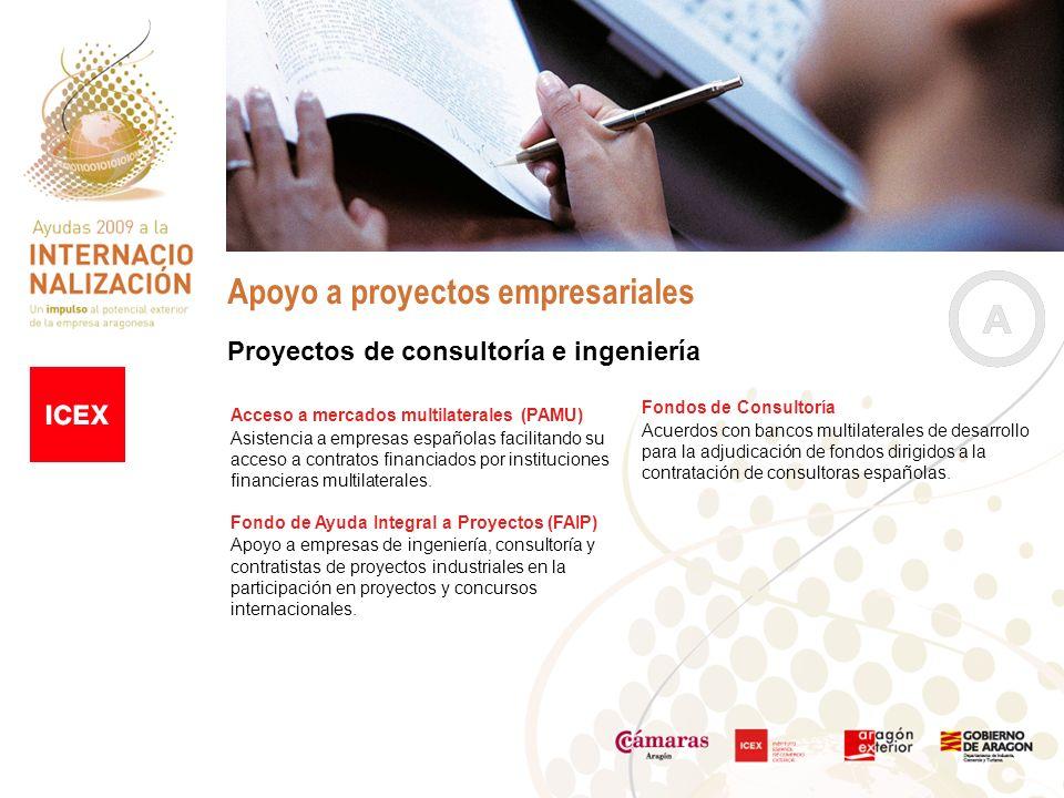 Apoyo a proyectos empresariales Fondos de Consultoría Acuerdos con bancos multilaterales de desarrollo para la adjudicación de fondos dirigidos a la contratación de consultoras españolas.