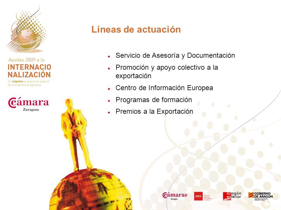 Servicio de Asesoría y Documentación Promoción y apoyo colectivo a la exportación Centro de Información Europea Programas de formación Premios a la Exportación Líneas de actuación