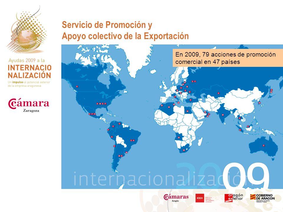Servicio de Promoción y Apoyo colectivo de la Exportación En 2009, 79 acciones de promoción comercial en 47 países