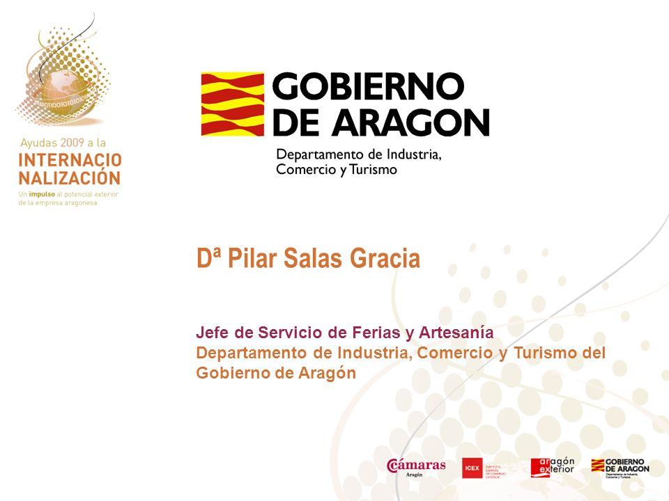 Dª Pilar Salas Gracia Jefe de Servicio de Ferias y Artesanía Departamento de Industria, Comercio y Turismo del Gobierno de Aragón