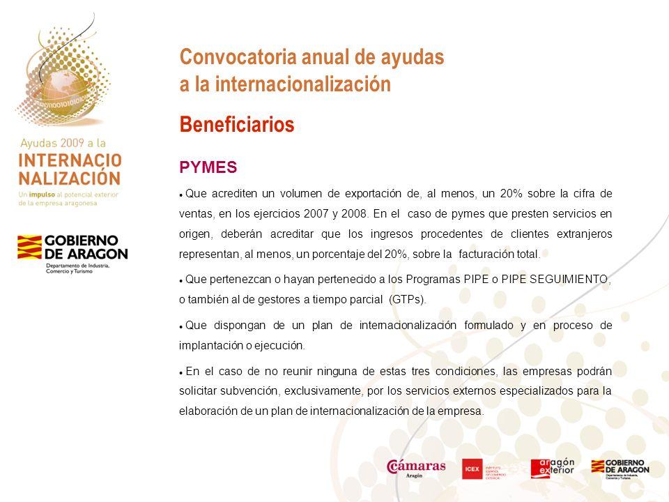 Convocatoria anual de ayudas a la internacionalización Beneficiarios PYMES Que acrediten un volumen de exportación de, al menos, un 20% sobre la cifra de ventas, en los ejercicios 2007 y 2008.