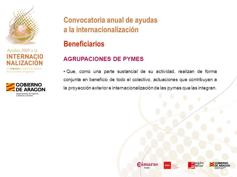 Convocatoria anual de ayudas a la internacionalización Beneficiarios AGRUPACIONES DE PYMES Que, como una parte sustancial de su actividad, realizan de forma conjunta en beneficio de todo el colectivo, actuaciones que contribuyan a la proyección exterior e internacionalización de las pymes que las integran.