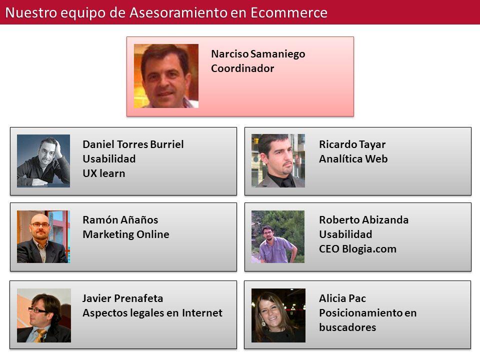 Nuestro equipo de Asesoramiento en Ecommerce Narciso Samaniego Coordinador Daniel Torres Burriel Usabilidad UX learn Ramón Añaños Marketing Online Jav