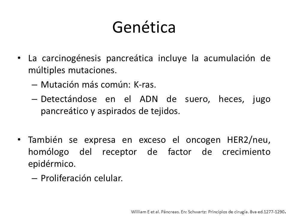 Genética La carcinogénesis pancreática incluye la acumulación de múltiples mutaciones. – Mutación más común: K-ras. – Detectándose en el ADN de suero,