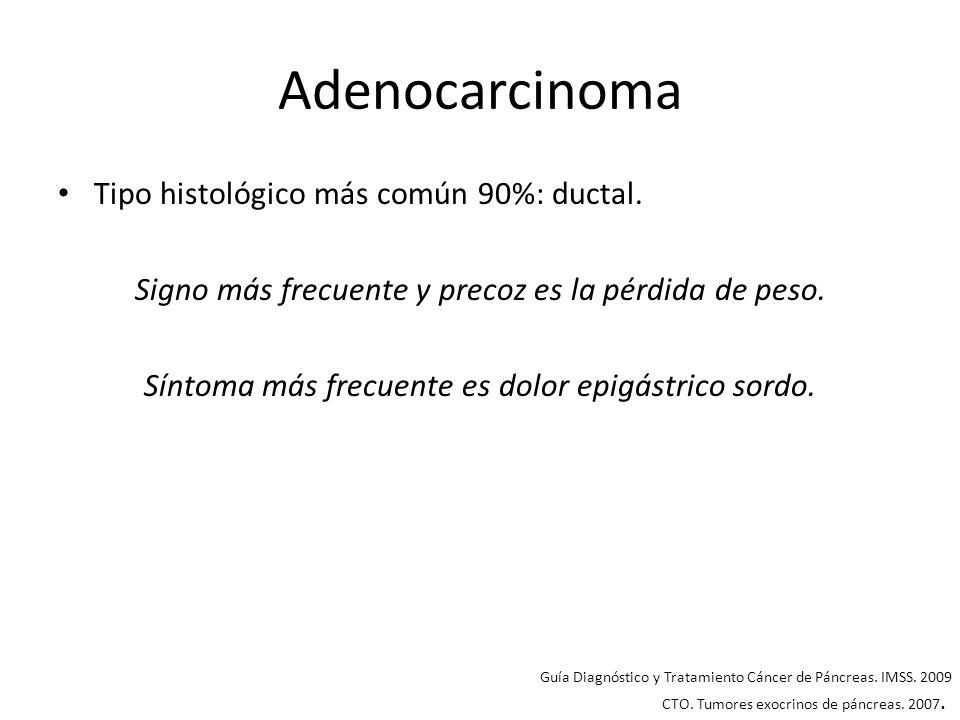 Adenocarcinoma Tipo histológico más común 90%: ductal. Signo más frecuente y precoz es la pérdida de peso. Síntoma más frecuente es dolor epigástrico