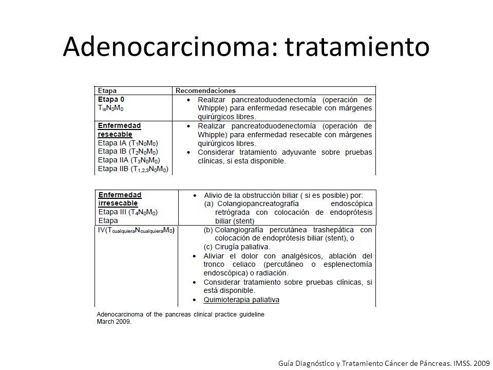 Adenocarcinoma: tratamiento Clasificación en función de poder o no extirparlos quirúrgicamente: – Resecable: 10-20%.