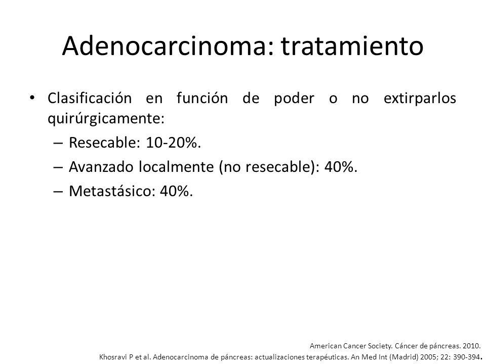 Adenocarcinoma: tratamiento Tumores resecables: la cirugía es potencialmente curativa, pudiéndose realizar: – Duodenopancreatectomía cefálica (operación de Whipple): es de elección para tumores de cabeza de páncreas, ampulomas y tumores periampulares.