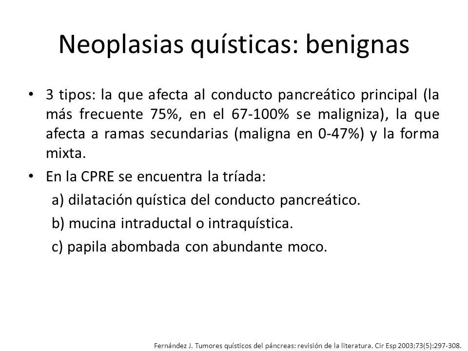 Neoplasias quísticas: benignas 3 tipos: la que afecta al conducto pancreático principal (la más frecuente 75%, en el 67-100% se maligniza), la que afe