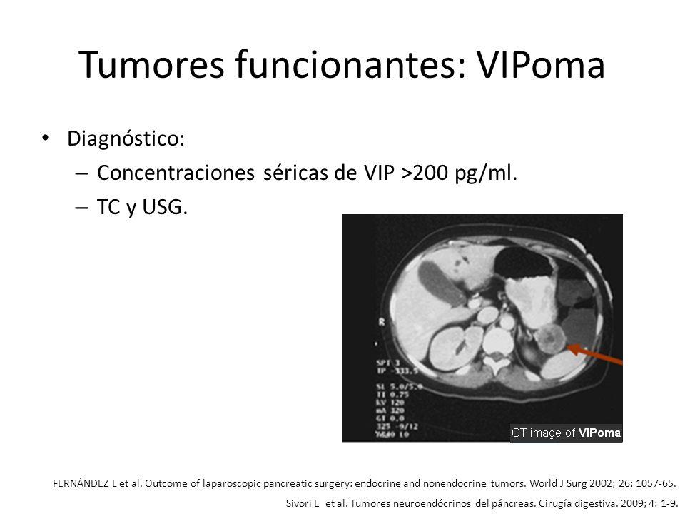 Tumores funcionantes: VIPoma Diagnóstico: – Concentraciones séricas de VIP >200 pg/ml. – TC y USG. FERNÁNDEZ L et al. Outcome of laparoscopic pancreat