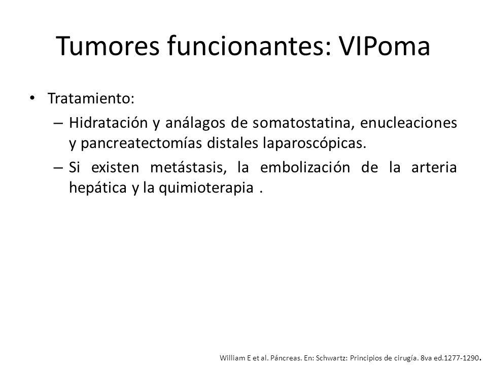 Tumores funcionantes: VIPoma Tratamiento: – Hidratación y análagos de somatostatina, enucleaciones y pancreatectomías distales laparoscópicas. – Si ex