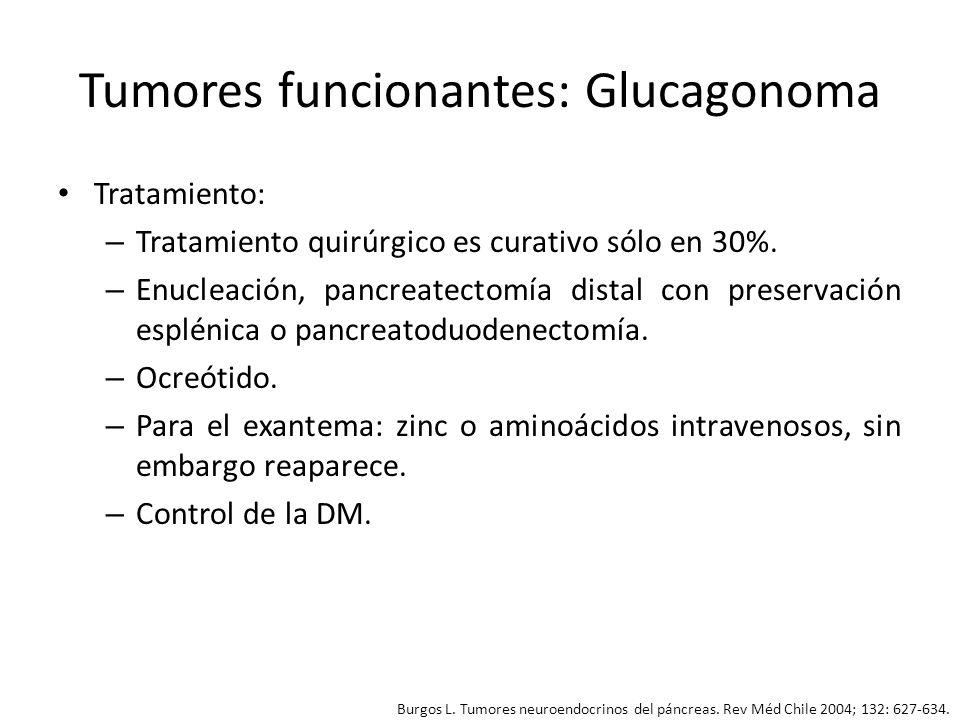 Tumores funcionantes: Glucagonoma Tratamiento: – Tratamiento quirúrgico es curativo sólo en 30%. – Enucleación, pancreatectomía distal con preservació