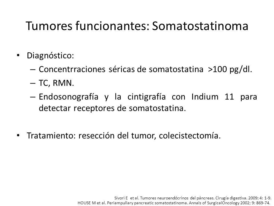 Tumores funcionantes: Somatostatinoma Diagnóstico: – Concentrraciones séricas de somatostatina >100 pg/dl. – TC, RMN. – Endosonografía y la cintigrafí