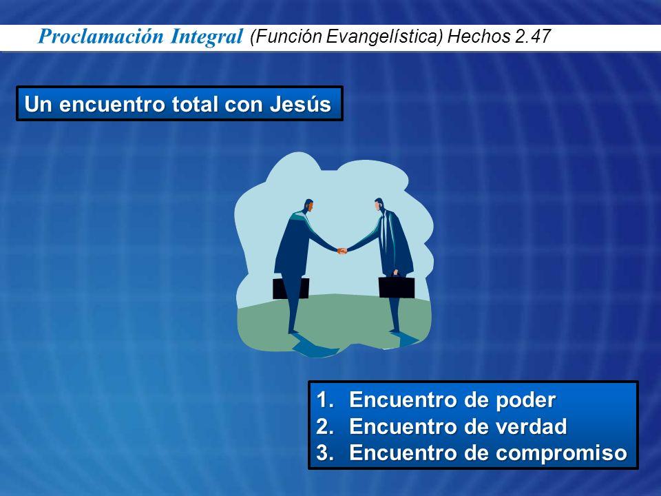 Un encuentro total con Jesús 1.Encuentro de poder 2.Encuentro de verdad 3.Encuentro de compromiso Proclamación Integral (Función Evangelística) Hechos