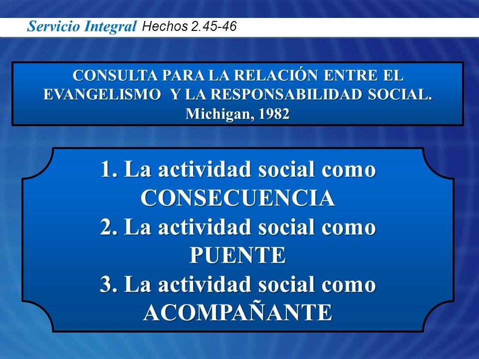 CONSULTA PARA LA RELACIÓN ENTRE EL EVANGELISMO Y LA RESPONSABILIDAD SOCIAL. Michigan, 1982 1. La actividad social como CONSECUENCIA 2. La actividad so
