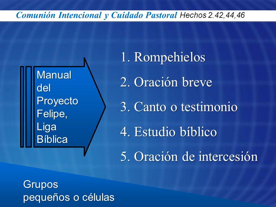 Grupos pequeños o células Manual del ProyectoFelipe,LigaBíblica 1.Rompehielos 2.Oración breve 3.Canto o testimonio 4.Estudio bíblico 5.Oración de inte